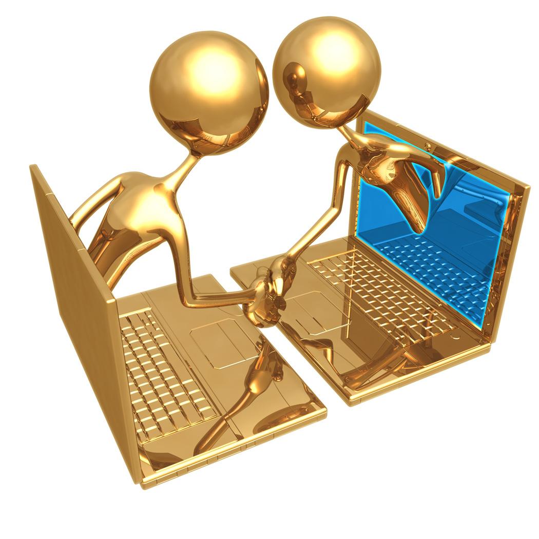 GoldStickFiguresShakingHandsFromLaptops Consulting